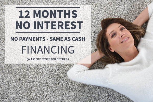 12 Months no interest financing - No payments - Sale as Cash - W.A.C. (see store for details)
