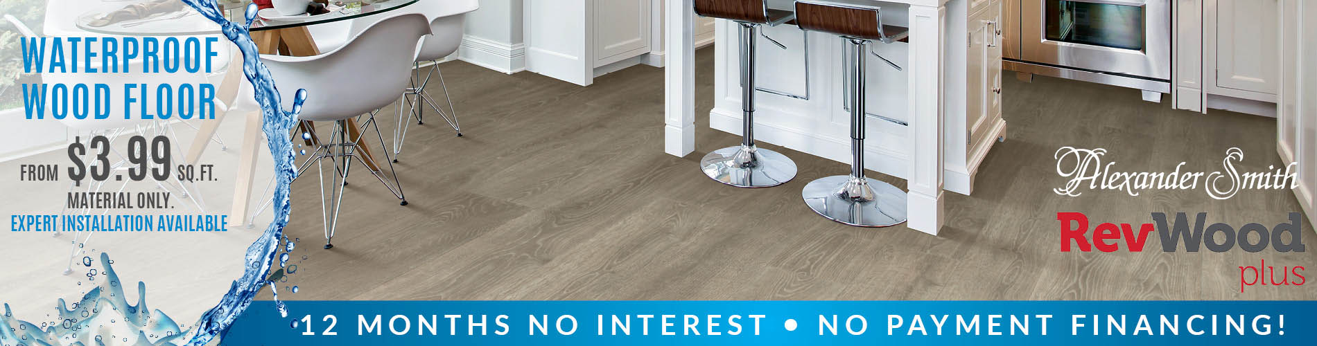 Alexander Smith RevWood Plus waterproof wood-look floor starting st $3.99 sq.ft. (material only) with expert installation available and 12 month, no interest, no payment financing!
