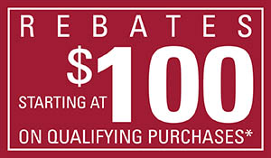Rebates starting at $100 on qualifying purchase* during the Season of Style Savings Event!