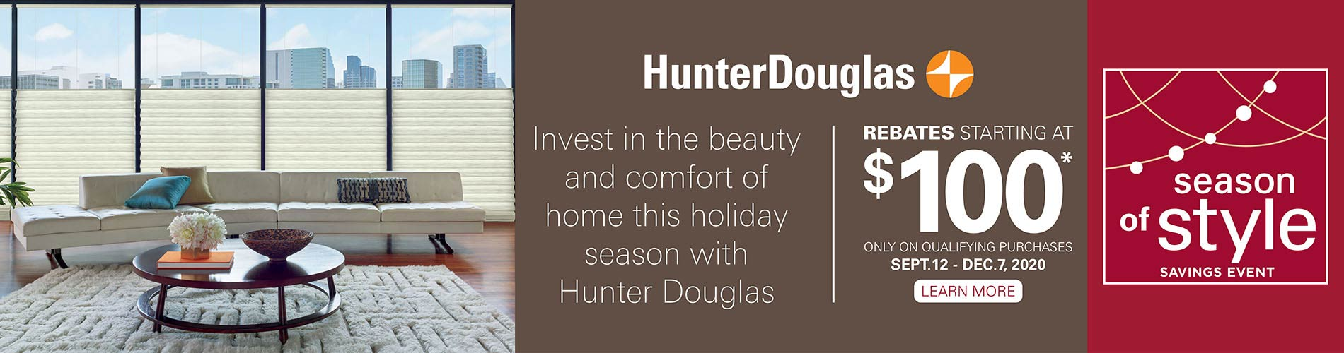 Hunter Douglas Window Fashions on sale during the Season of Style Savings Event!